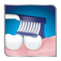 Toothbrush brushing back teeth on top