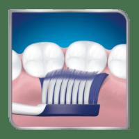Toothbrush brushing back teeth from inside