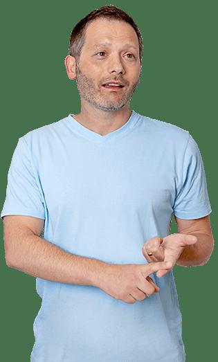 Male dentist explaining