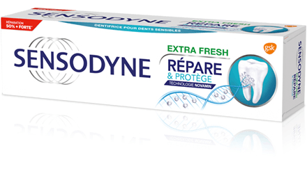 Le dentifrice Sensodyne Répare et Protège Extra Fresh répare l'émail dentaire et soulage la sensibilité dentaire