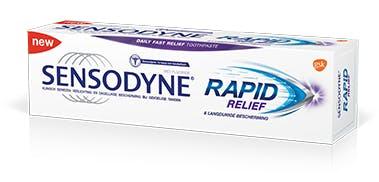 Sensodyne Rapid Relief 3D liggend in een hoek met achtergrond