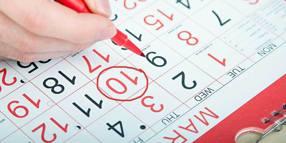 A pen marking a calendar, Use Abreva cream for ten days max