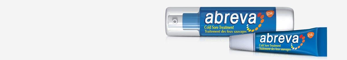 Deux tubes bleus de produits Abreva