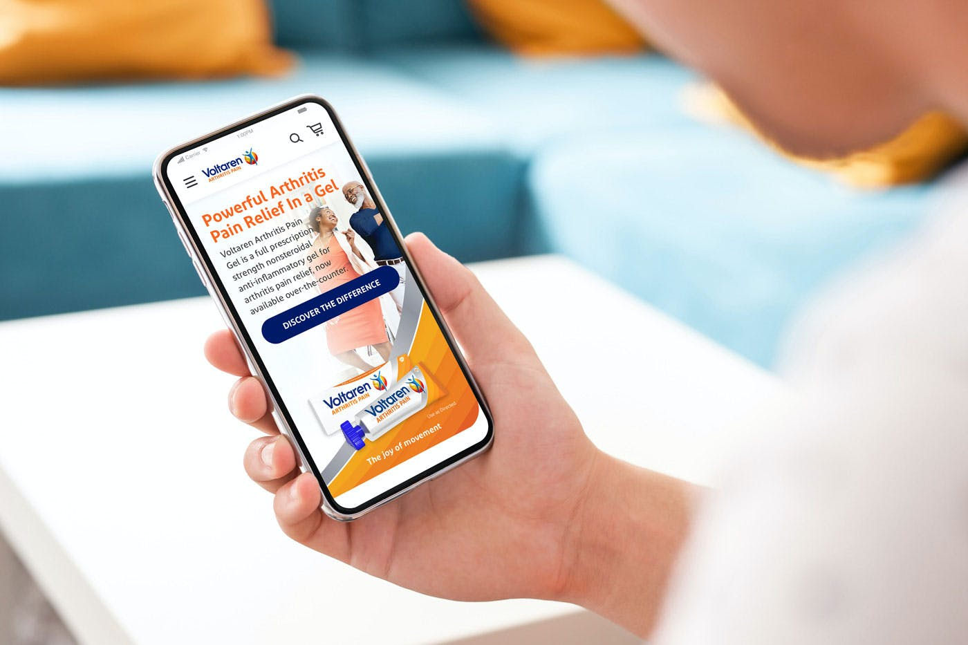 Person using Voltaren first arthritis-optimized site on their phone
