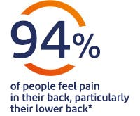 94% of people feel pain in their back , particularly their lower back*