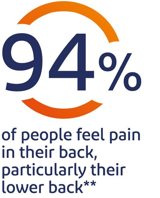 94% of people feel pain in their back, particularly their lower back*