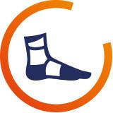 Sprains and ankle pain icon