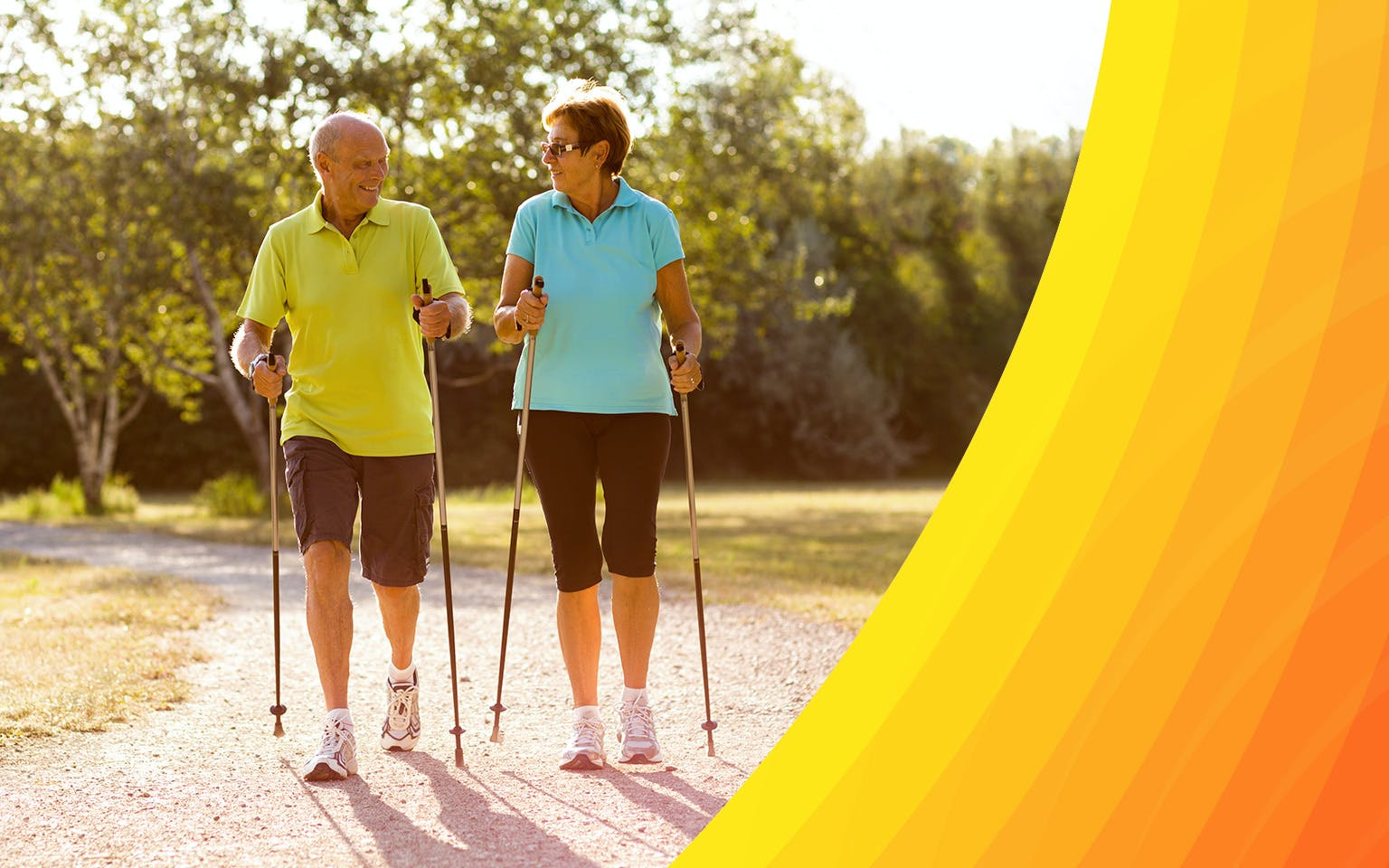 Older couple aided walking