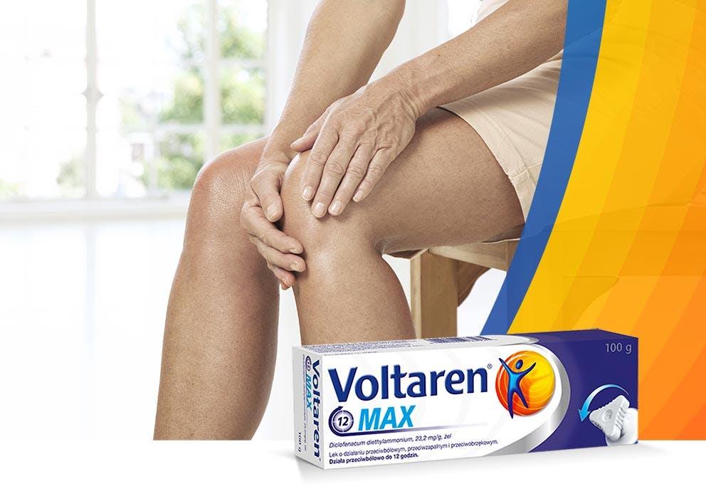 Kobieta łapiąca się za bolące kolano i Voltaren MAX