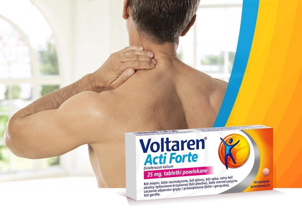 Mężćzyzna łapiący się za bolący kark i Voltaren Acti Forte
