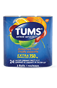 TUMS Extra-fort, fruits assortis, emballage de 3 rouleaux