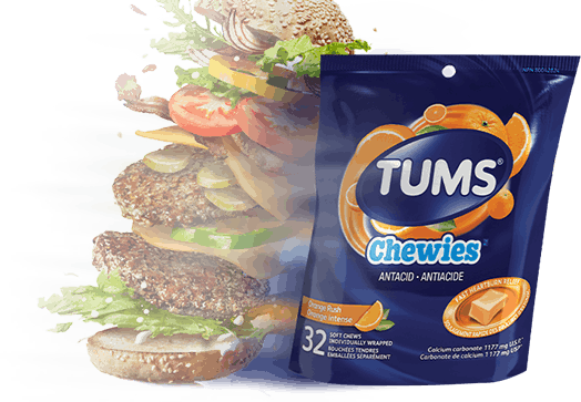 Double stacked cheeseburger next to a bag of TUMS Chewies
