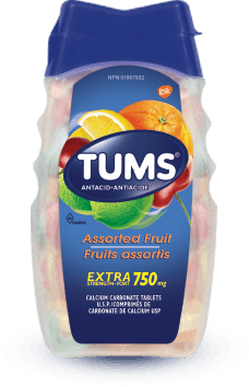 TUMS Extra-fort, fruits assortis, flacon de 100 comprimés