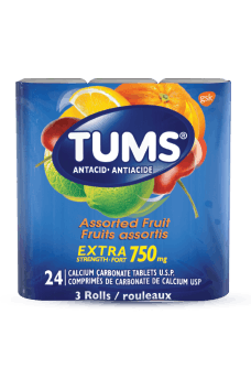 3-roll package of Tums® Extra Strength Assorted Fruit