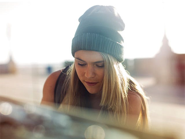 Young girl wearing beanie