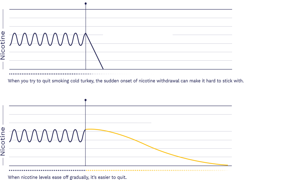 Withdrawal graph showing rapid onset of withdrawal symptoms when quitting cold turkey