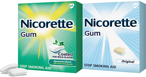 Nicorette gum packages in original and mint flavors