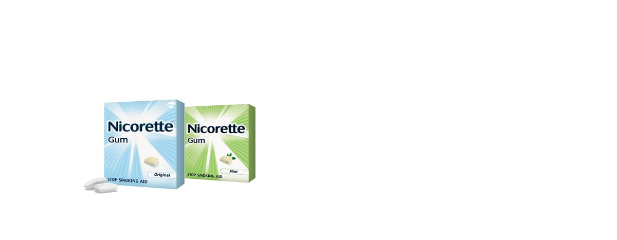 Boxes of Mint and Original flavored Nicorette gum