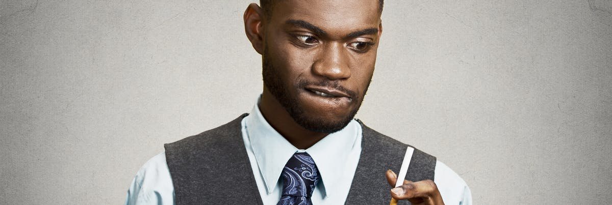 Man contemplating smoking