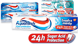 Aquafresh sugar acid protection toothpaste products