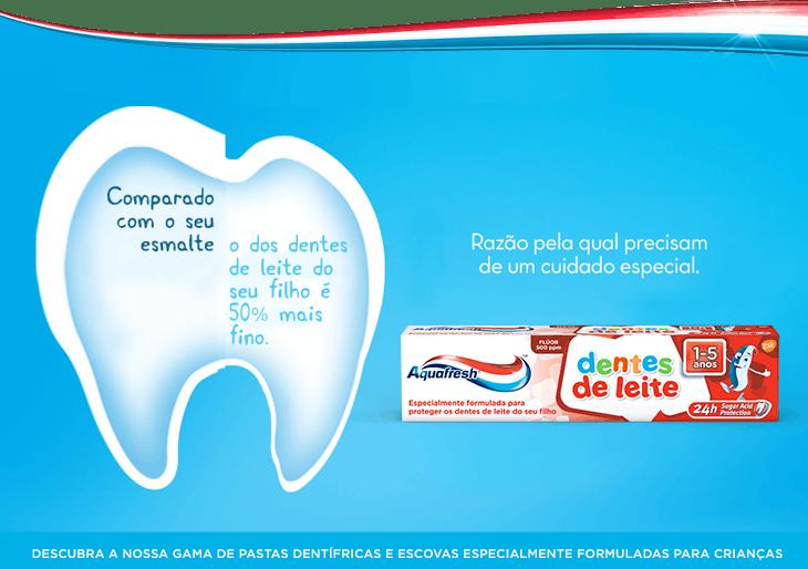 Comparado com o seu esmalte, o dos  dentes do seu filho é 50% mais fino